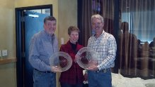 Bob and Julie Peterson receiving awards for MN High Point 2 Yr. Old Traffic Patrol and MN High Point 3 Yr. Old Western Fun