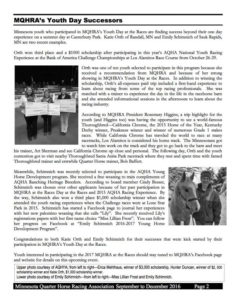 2016 MQHRA Newsletter SEPT to DEC2