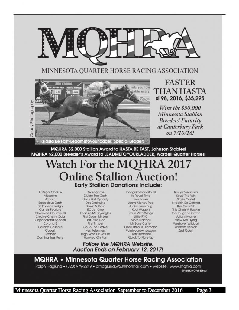2016 MQHRA Newsletter SEPT to DEC3