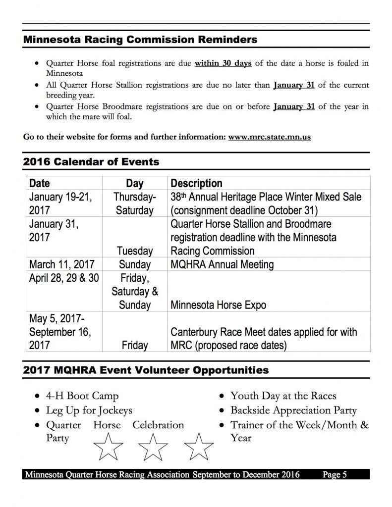 2016 MQHRA Newsletter SEPT to DEC5