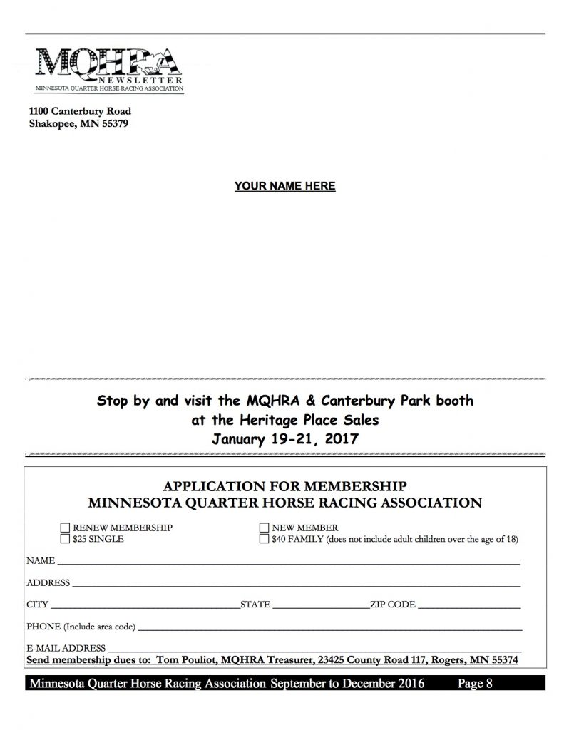 2016 MQHRA Newsletter SEPT to DEC8